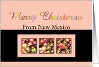 New Mexico - Merry Colored ornaments, pink/black card