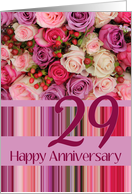 29th Wedding Anniversary Gift For Husband : 29th Wedding Anniversary Card - Pastel roses and stripes card ...