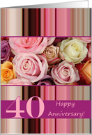40th Wedding Anniversary Card - Pastel roses and stripes card