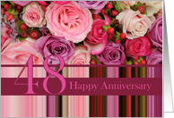 48th Wedding Anniversary Card - Pastel roses and stripes card