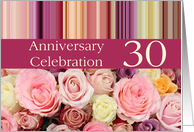30th Wedding Anniversary Invitation Card - Pastel roses and stripes card