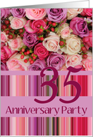 35th Wedding Anniversary Invitation Card - Pastel roses and stripes card