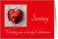 Secretary - A Lovely Christmas, heart shaped ornaments card