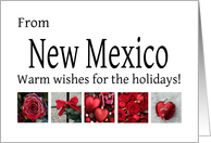 New Mexico - Red Collage warm holiday wishes card