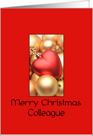 Colleague Merry Christmas - Gold/Red ornaments card