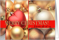 From all of us Merry Christmas - Gold/Red ornaments card