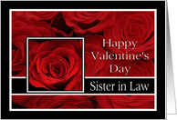 Sister in Law - Valentine's Day Roses red, black and white card