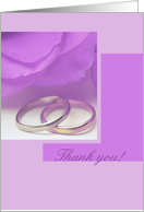 purple rose wedding thank you card