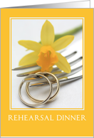 yellow daffodil wedding rehearsal dinner card