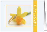 yellow daffodil wedding thank you card