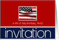 4th of July birthday party invitation card