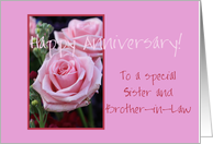 Anniversary sister and brother in law, pink roses card