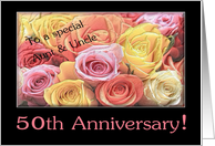 50th Anniversary mixed rose bouquet Aunt & Uncle card