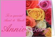 Anniversary mixed rose bouquet Aunt & Uncle card