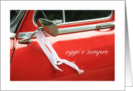Italian wedding congratulations, classic red car card