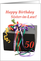 Sister in law 50th birthday, gift with ribbons card