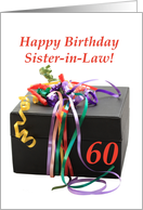 Sister in Law 60th birthday gift with ribbons card