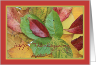 Happy Thanksgiving fall foliage greeting card for Husband card