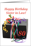 sister in law 80th birthday gift with ribbons card