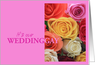 gay wedding invitation rose bouquet card