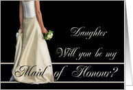 bride & bouquet, maid of honour request for daughter card