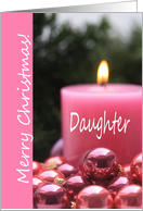 pink christmas ornaments for Daughter card