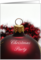 Christmas Party Invitation, Red Ornament card