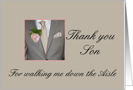 Son Thank you for walking me down the Aisle card