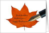 great grandma orange maple leaf thanksgiving message card