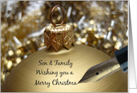 son & family christmas message on golden ornament card