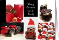 son and family christmas red collage card