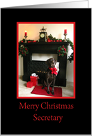 secretary Merry Christmas German pointer at fireplace christmas card