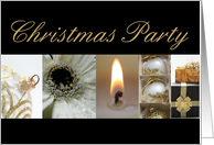 Christmas Party Invitation black & White & Gold collage card
