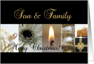 son & family Merry Christmas black & White & Gold collage card