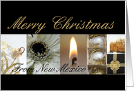 New Mexico Christmas wish black & White & Gold collage card