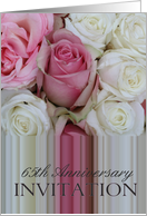 65th Anniversary Party Invitation Soft pink roses0 card