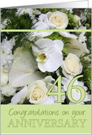 46th Wedding Anniversary White mixed bouquet card