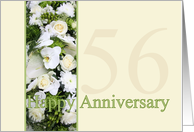 56th Wedding Anniversary White mixed bouquet card
