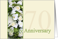 70th Wedding Anniversary White mixed bouquet card