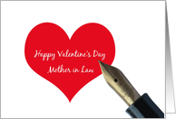 mother in law Valentine�s Day Red Heart message card