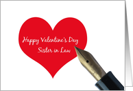 sister in law Valentine´s Day Red Heart message card