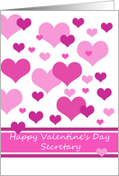 secretary happy valentine's day Pink Hearts Valentine�s Day card, card