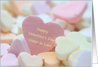 sister in law Happy Valentine's Day, pink candy heart card