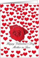 mother in law Rose and hearts Valentine�s Day card