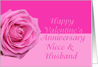 niece & husband Pretty Pink Rose Valentine�s Day Anniversary card