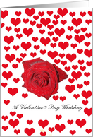 Wedding on Valentine�s Day Rose and Hearts card