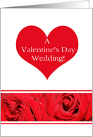 Wedding on Valentine�s Day Heart Rose border card