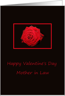 mother in law Happy Valentine's Day Red rose on black card
