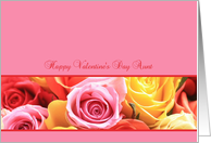 aunt Happy Valentine's Day pink rose border card