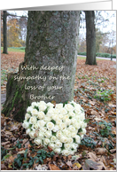 brother, sympathy - White heart rose bouquet near tree card